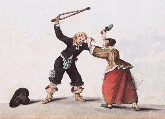 Echtpaar dat elkaar te lijf gaat  *watercolour and quill on paper *1652
